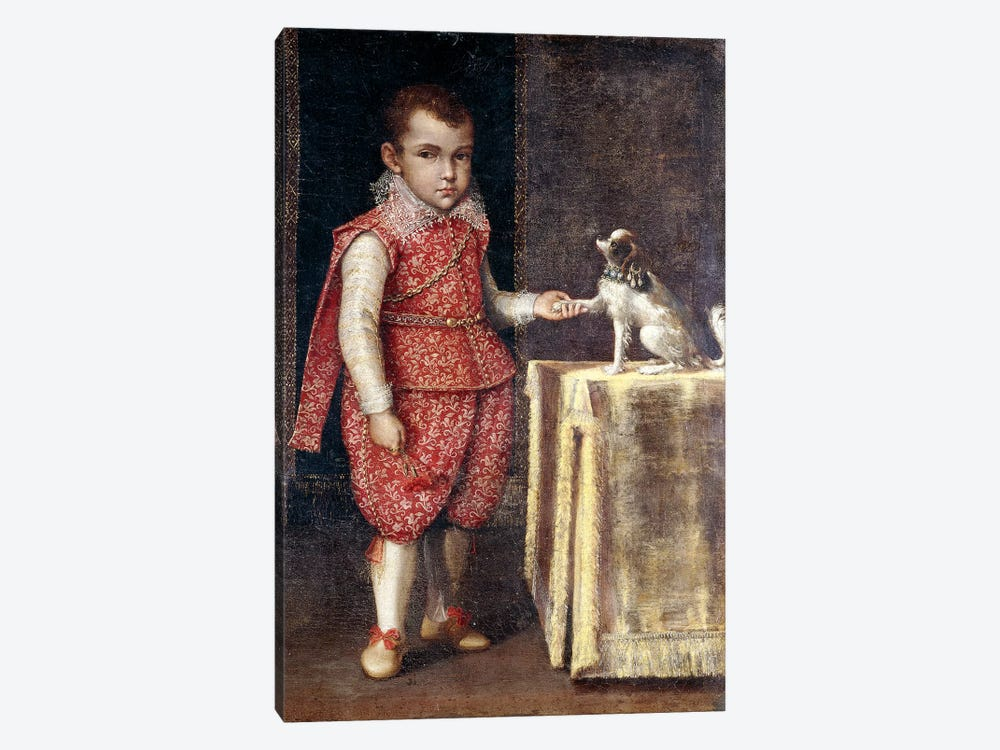 Portrait Of A Boy, Wearing A Silver-Embroidered Red Costume, Holding The Paw Of A Spaniel On A Table by Lavinia Fontana 1-piece Canvas Wall Art