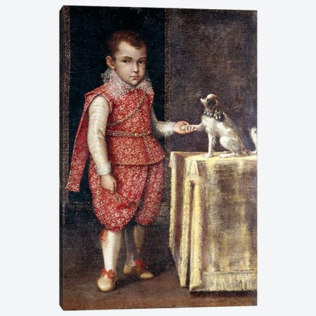 Portrait Of A Boy, Wearing A Silver-Embroidered Red Costume, Holding The Paw Of A Spaniel On A Table Canvas Print #BMN7621} by Lavinia Fontana Canvas Art