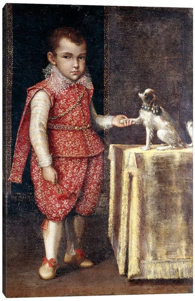 Portrait Of A Boy, Wearing A Silver-Embroidered Red Costume, Holding The Paw Of A Spaniel On A Table Canvas Art Print