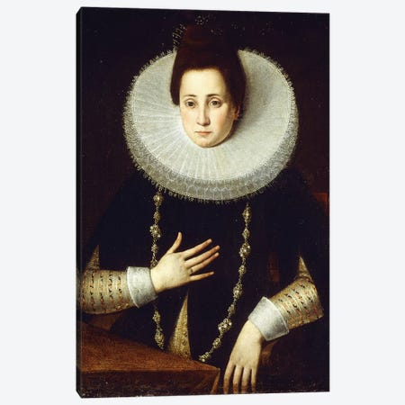 Portrait Of A Lady, Seated, Wearing A Black Costume With White Ruff Canvas Print #BMN7623} by Lavinia Fontana Canvas Artwork