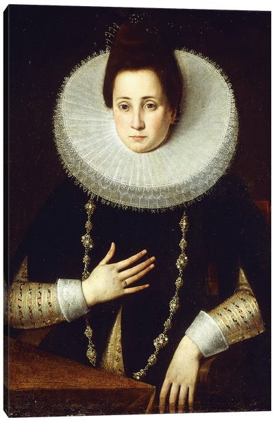 Portrait Of A Lady, Seated, Wearing A Black Costume With White Ruff Canvas Art Print