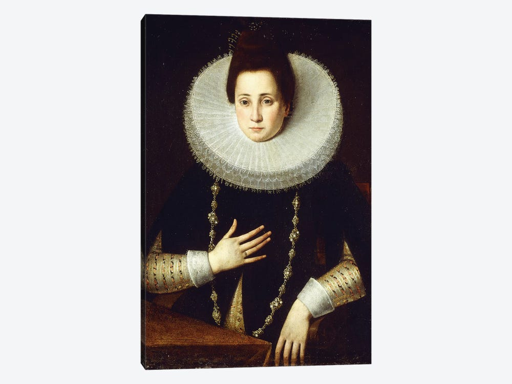 Portrait Of A Lady, Seated, Wearing A Black Costume With White Ruff by Lavinia Fontana 1-piece Canvas Wall Art