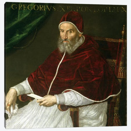 Portrait Of Pope Gregory XIII (Ugo Buoncompagni) Canvas Print #BMN7625} by Lavinia Fontana Canvas Print