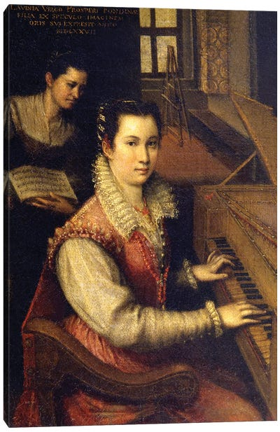 Self Portrait At The Spinet, 1578 (Accademia di San Luca) Canvas Art Print