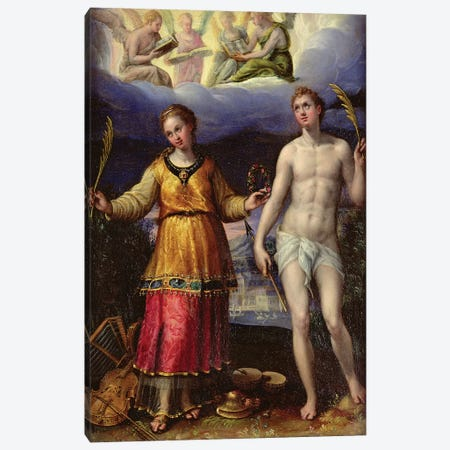 St. Sebastian And St. Cecilia Canvas Print #BMN7628} by Lavinia Fontana Canvas Wall Art