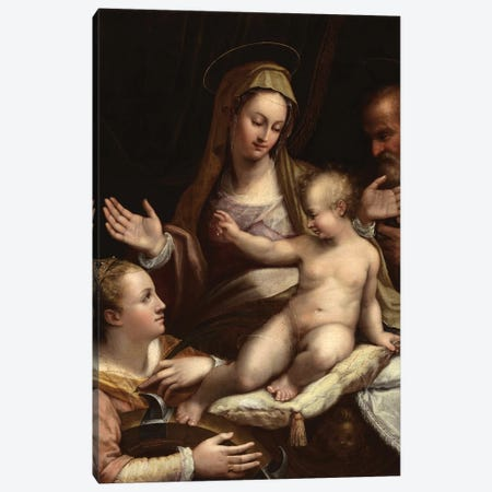 The Holy Family With Saint Catherine Of Alexandria, 1581 Canvas Print #BMN7632} by Lavinia Fontana Art Print