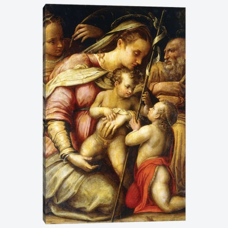 The Holy Family With The Infant Saint John The Baptist And Saint Catherine Canvas Print #BMN7633} by Lavinia Fontana Art Print
