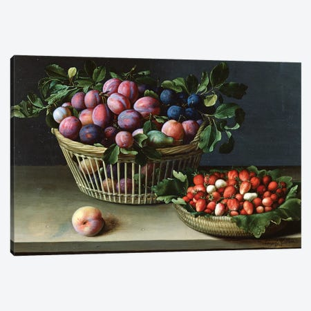 Basket Of Plums And Basket Of Strawberries, 1632 Canvas Print #BMN7635} by Louise Moillon Canvas Art