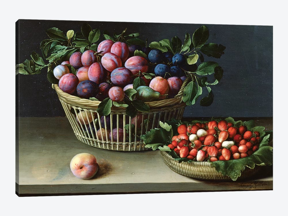 Basket Of Plums And Basket Of Strawberries, 1632 by Louise Moillon 1-piece Art Print