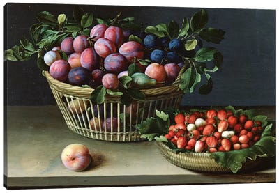 Basket Of Plums And Basket Of Strawberries, 1632 Canvas Art Print
