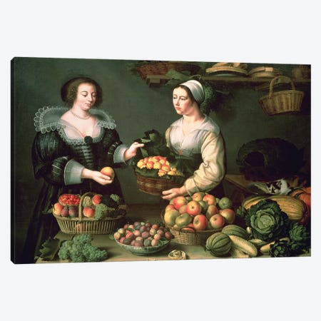 The Fruit And Vegetable Seller Canvas Print #BMN7636} by Louise Moillon Canvas Wall Art
