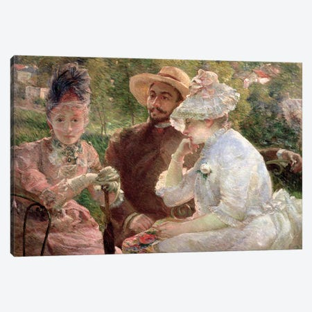 On The Terrace At The Sevres, 1880 Canvas Print #BMN7637} by Marie Bracquemond Canvas Wall Art
