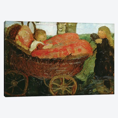 Little Girl Pushing A Pram, 1904 Canvas Print #BMN7643} by Paula Modersohn-Becker Canvas Wall Art