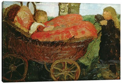 Little Girl Pushing A Pram, 1904 Canvas Art Print