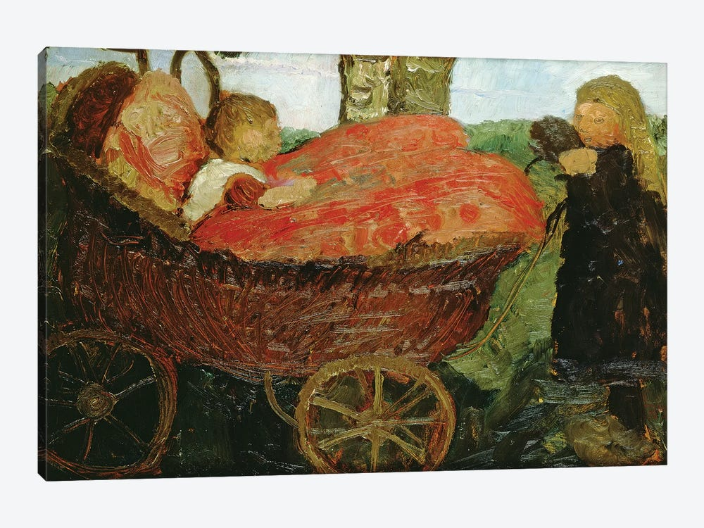 Little Girl Pushing A Pram, 1904 by Paula Modersohn-Becker 1-piece Canvas Artwork