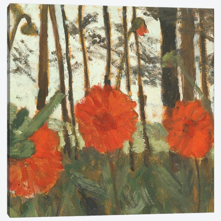 Poppies On The Edge Of A Wood Canvas Print #BMN7647} by Paula Modersohn-Becker Canvas Art Print