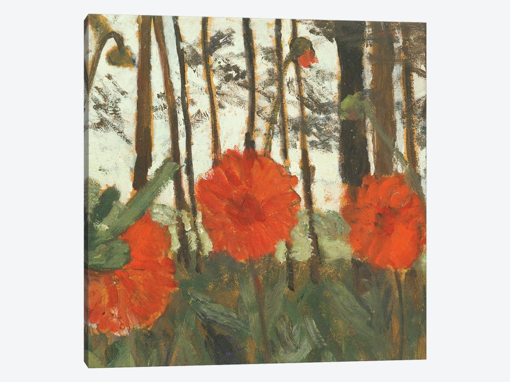 Poppies On The Edge Of A Wood 1-piece Canvas Artwork