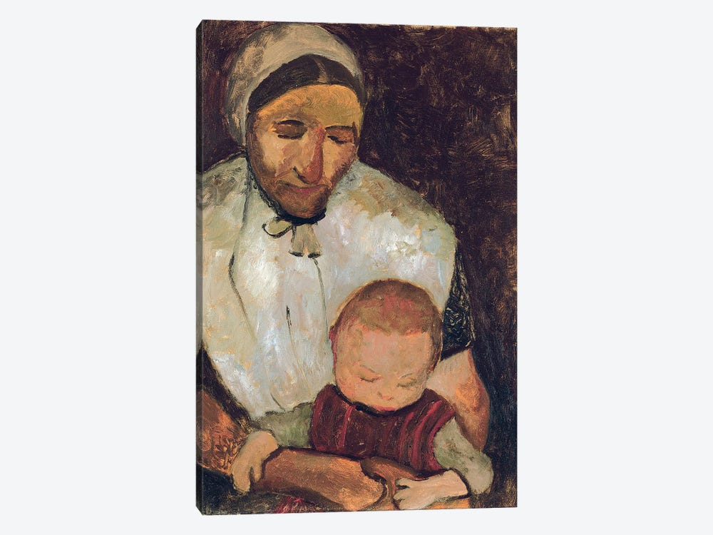 Seated Woman With A Child On Her Lap (Sitzende Bauerin mit Kind auf dem Schoss), 1903 by Paula Modersohn-Becker 1-piece Canvas Wall Art