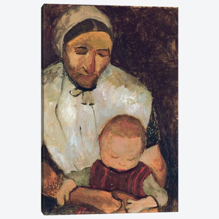 Seated Woman With A Child On Her Lap (Sitzende Bauerin mit Kind auf dem Schoss), 1903 Canvas Print #BMN7649} by Paula Modersohn-Becker Canvas Wall Art