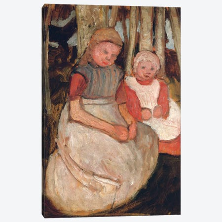 Two Seated Girls Before Birch Trunks (Zwei Sitzende Madchen vor Birkenstammen), 1904 Canvas Print #BMN7654} by Paula Modersohn-Becker Canvas Art
