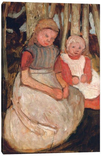 Two Seated Girls Before Birch Trunks (Zwei Sitzende Madchen vor Birkenstammen), 1904 Canvas Art Print