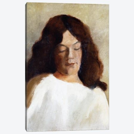 Young Woman With Her Hair Down, c.1897 Canvas Print #BMN7655} by Paula Modersohn-Becker Canvas Wall Art