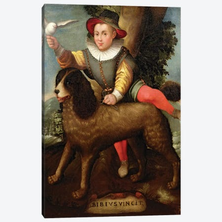 Boy And Dog (Bibius Vincit) Canvas Print #BMN7660} by Sofonisba Anguissola Canvas Art