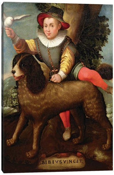 Boy And Dog (Bibius Vincit) Canvas Art Print
