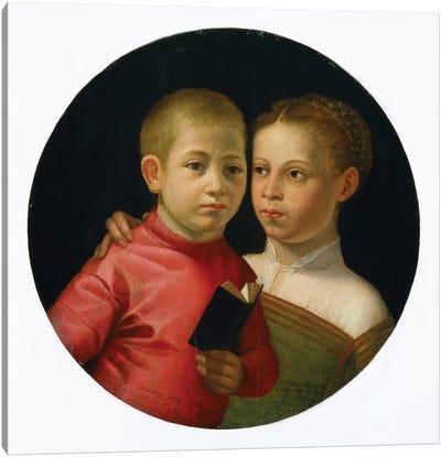 Double Portrait Of A Boy And Girl Of The Attavanti Family, c.1580 Canvas Art Print