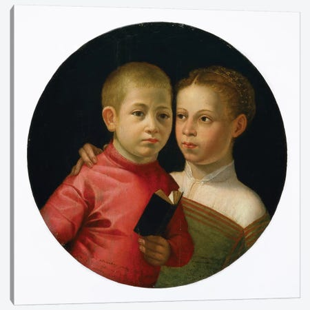 Double Portrait Of A Boy And Girl Of The Attavanti Family, c.1580 Canvas Print #BMN7663} by Sofonisba Anguissola Canvas Art