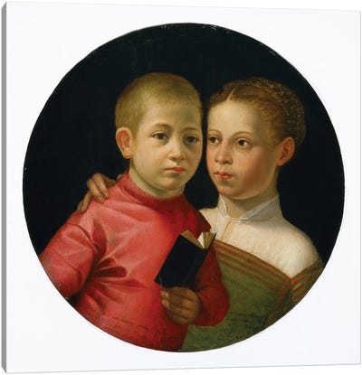 Double Portrait Of A Boy And Girl Of The Attavanti Family, c.1580 Canvas Art Print