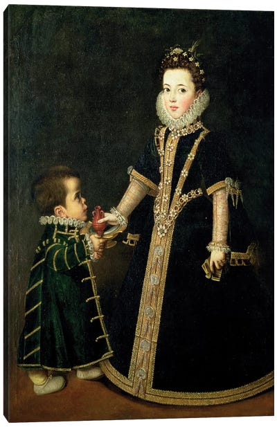 Girl With A Dwarf, Thought To Be A Portrait Of Margarita Of Savoy, Daughter Of The Duke And Duchess Of Savoy, c.1595 Canvas Art Print