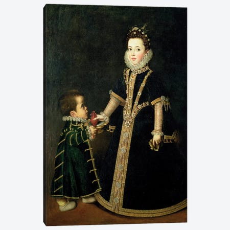 Girl With A Dwarf, Thought To Be A Portrait Of Margarita Of Savoy, Daughter Of The Duke And Duchess Of Savoy, c.1595 Canvas Print #BMN7665} by Sofonisba Anguissola Art Print