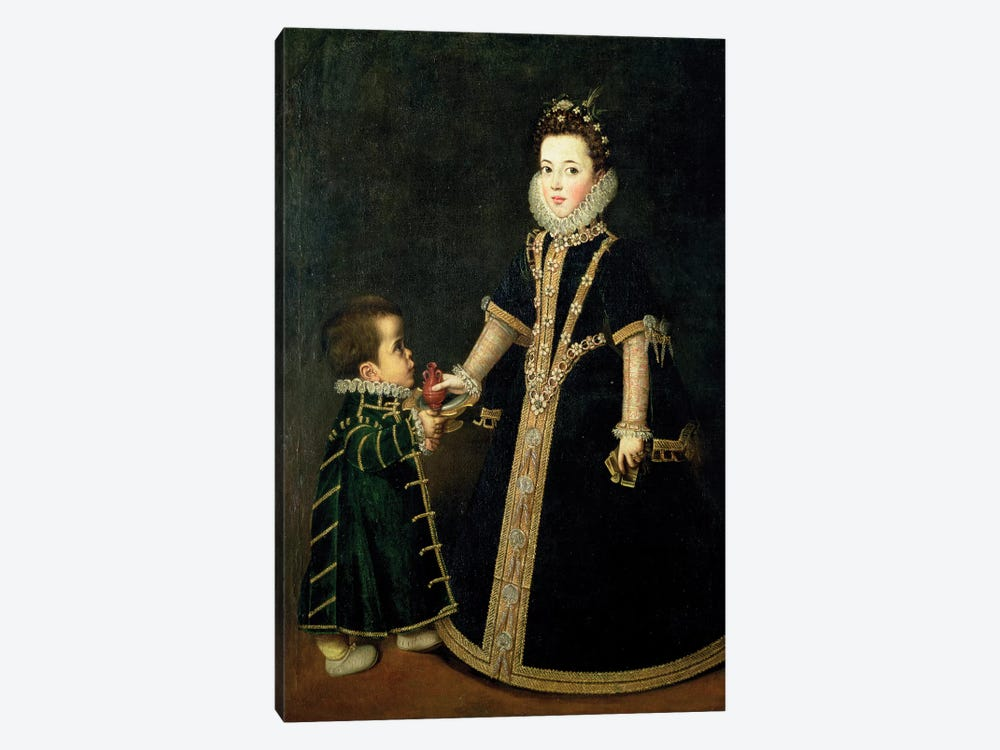 Girl With A Dwarf, Thought To Be A Portrait Of Margarita Of Savoy, Daughter Of The Duke And Duchess Of Savoy, c.1595 by Sofonisba Anguissola 1-piece Canvas Wall Art