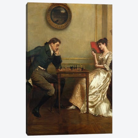 A Game of Chess Canvas Print #BMN766} by George Goodwin Kilburne Canvas Wall Art