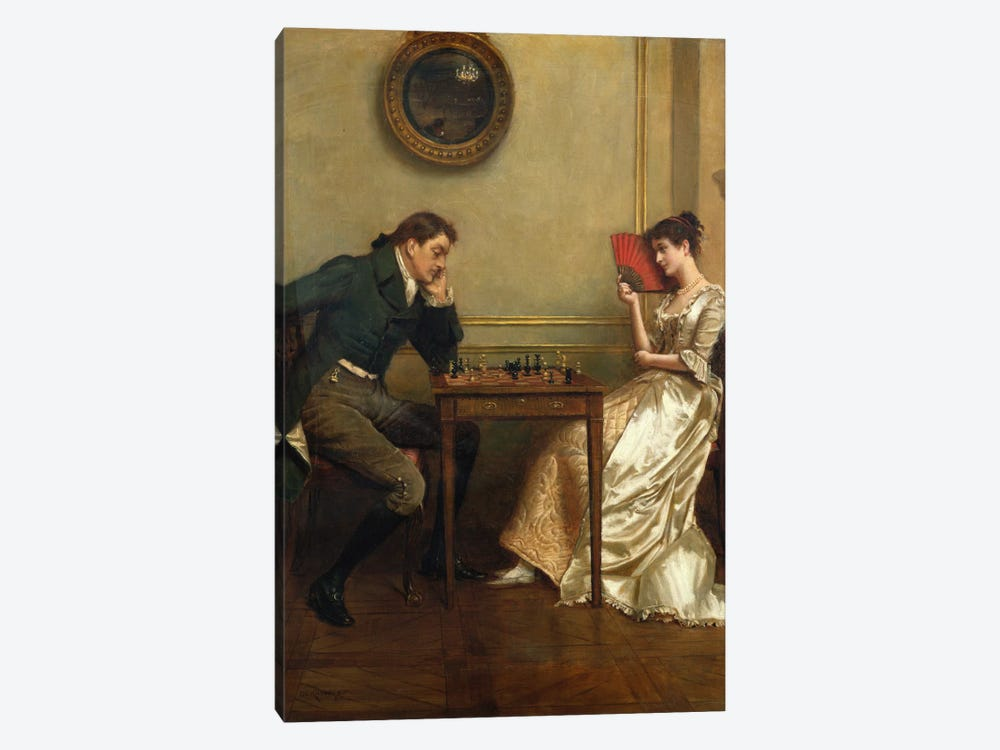 A Game of Chess by George Goodwin Kilburne 1-piece Canvas Wall Art