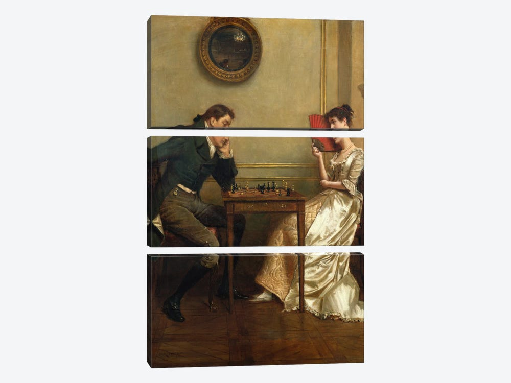 A Game of Chess by George Goodwin Kilburne 3-piece Canvas Art