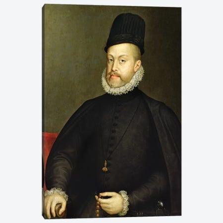 Philip II, c.1565 (Partially Restored) Canvas Print #BMN7674} by Sofonisba Anguissola Canvas Wall Art