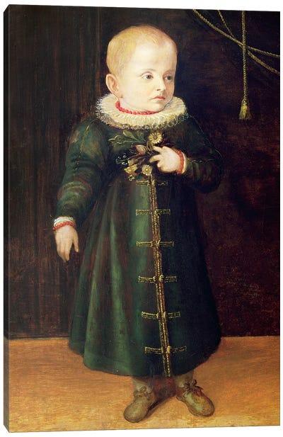 Portrait Of A Child (Emerald Outfit) Canvas Art Print