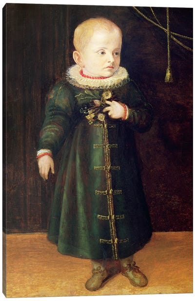 Portrait Of A Child (Emerald Outfit) Canvas Art Print