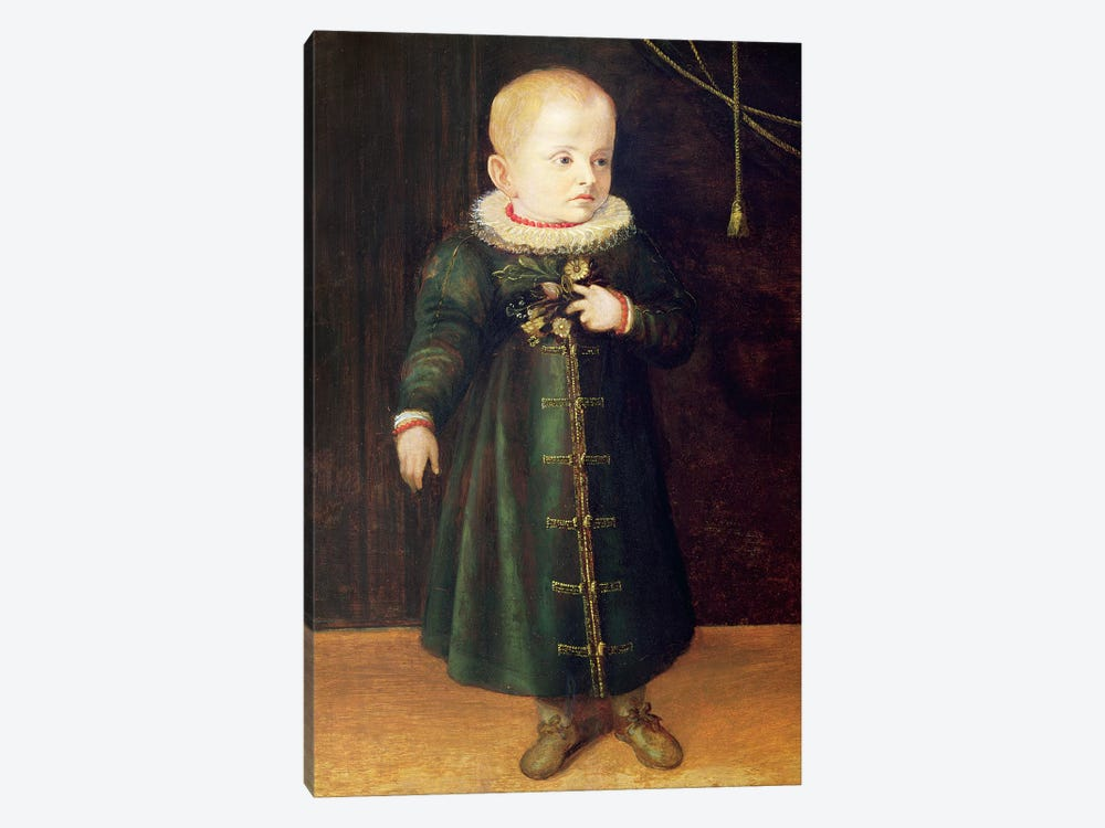Portrait Of A Child (Emerald Outfit) 1-piece Canvas Wall Art
