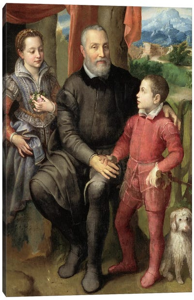 Portrait Of The Artist's Family: Minerva (Sister), Amilcare (Father) And Asdrubale (Brother), 1559 Canvas Art Print