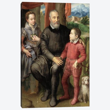 Portrait Of The Artist's Family: Minerva (Sister), Amilcare (Father) And Asdrubale (Brother), 1559 Canvas Print #BMN7680} by Sofonisba Anguissola Canvas Artwork