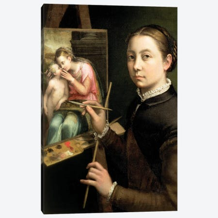 Self Portrait At The Easel, 1556 Canvas Print #BMN7684} by Sofonisba Anguissola Canvas Art Print
