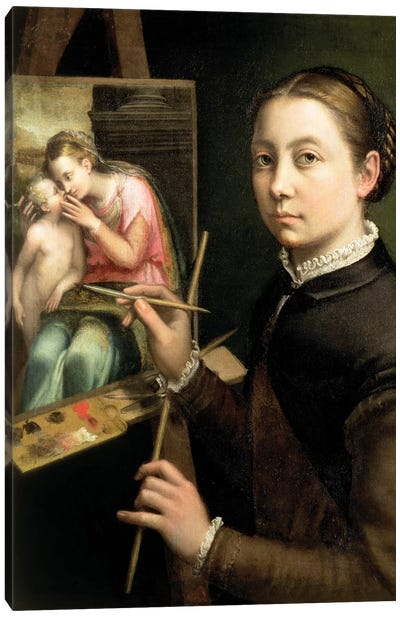 Self Portrait At The Easel, 1556 Canvas Art Print