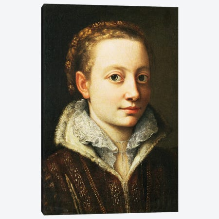 Self Portrait, 1560-61 3-Piece Canvas #BMN7686} by Sofonisba Anguissola Art Print