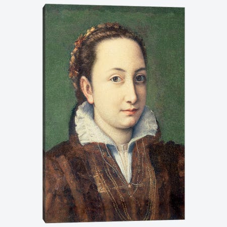 Self Portrait, Attired As Maid-Of-Honour To The Queen Of Spain, 1559 Canvas Print #BMN7687} by Sofonisba Anguissola Art Print