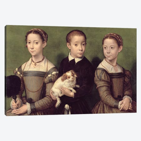 Two Sisters And A Brother Of The Artist Canvas Print #BMN7688} by Sofonisba Anguissola Canvas Wall Art
