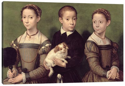 Two Sisters And A Brother Of The Artist Canvas Art Print