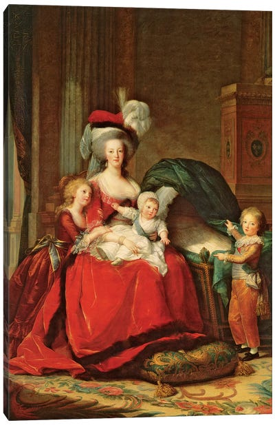 Marie Antoinette And Her Children, 1787 Canvas Art Print